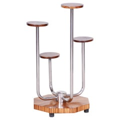 Czech Brown Bauhaus Chrome Flower Stand by Mücke, Melder, Zebrano Wood, 1930s