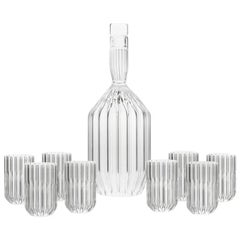 EU ClientsContemporary Decanter and Eight Liqueur Shot Glass Set, in Stock