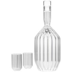 Czech Clear Contemporary Fluted Decanter & 2 Liqueur Shot Glass Set in Stock EU