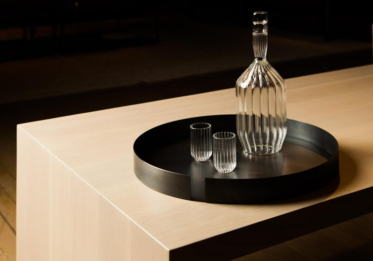 Fluted Margot decanter and two Dearborn liqueur shot mini clear glass set