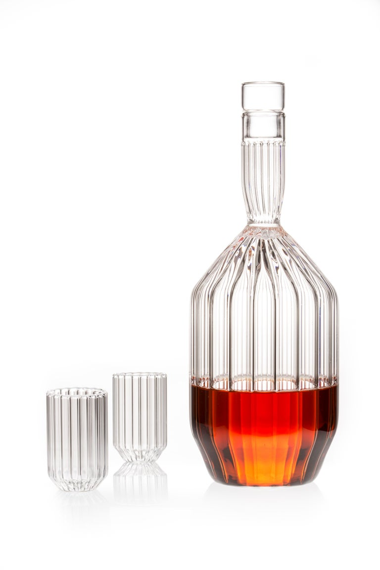 Modern Czech Clear Contemporary Fluted Decanter and Two Liqueur Shot Glass Set in Stock For Sale