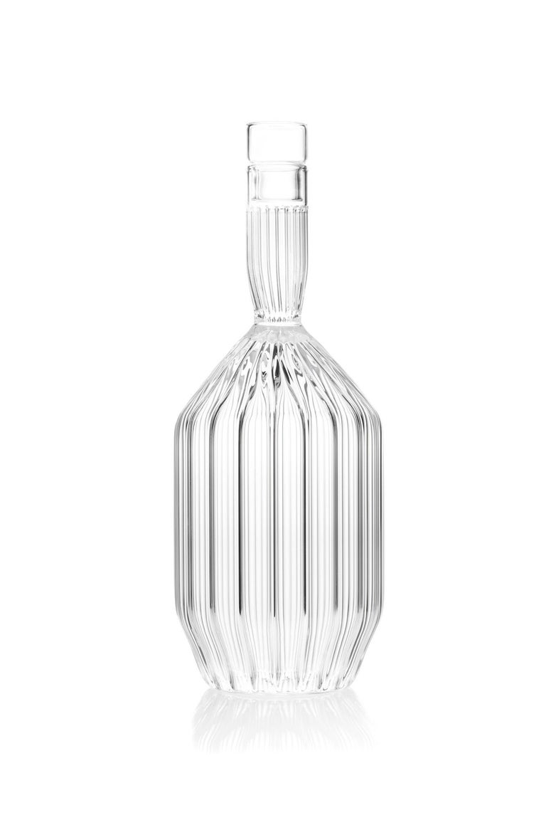 Czech Clear Contemporary Fluted Decanter and Two Liqueur Shot Glass Set in Stock For Sale 2