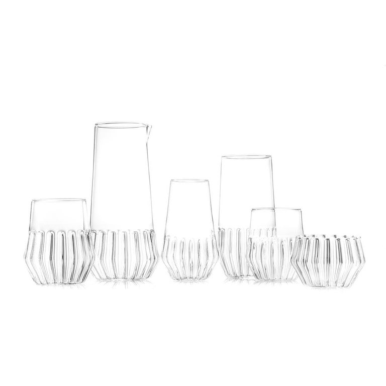 EU Clients Czech Clear Contemporary Handmade Mixed Carafe Water Pitcher in Stock In New Condition For Sale In Milan, IT