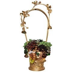 Czech Colored Glass and Bronze Fruit Basket Table Lamp. Circa 1890.