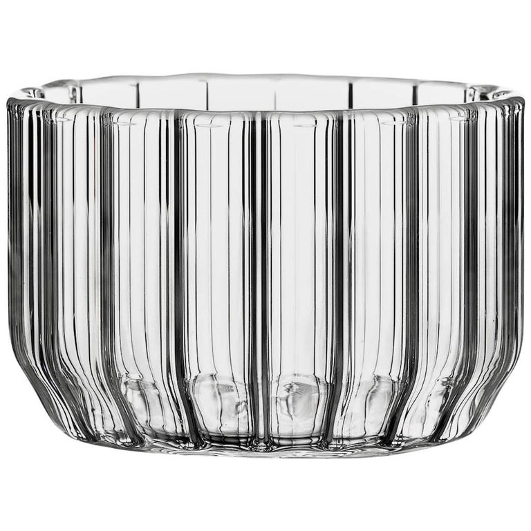 Czech Contemporary Minimal Dearborn Large Glass Bowl Handmade, in Stock For Sale