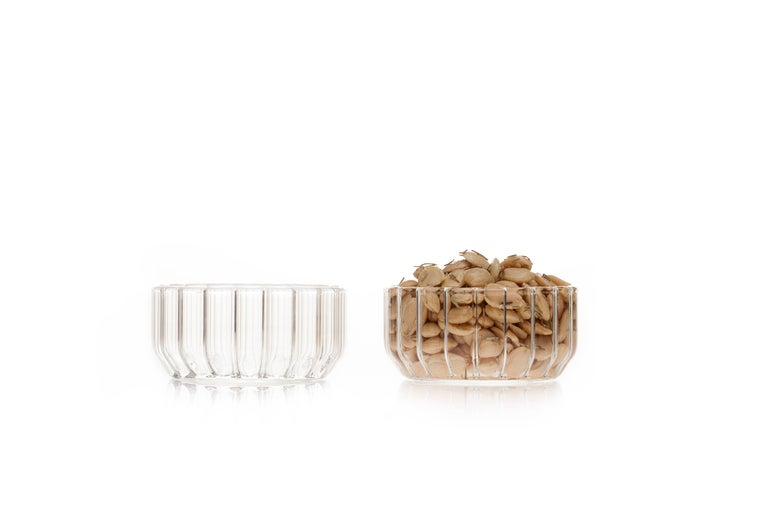 Dearborn medium glass bowl  The handmade Czech contemporary medium glass bowl is perfect for snacks during cocktail hour, candies, catchall, or even in the bathroom as a vessel for jewelry.  Perfect for everyday or formal dining settings, modern