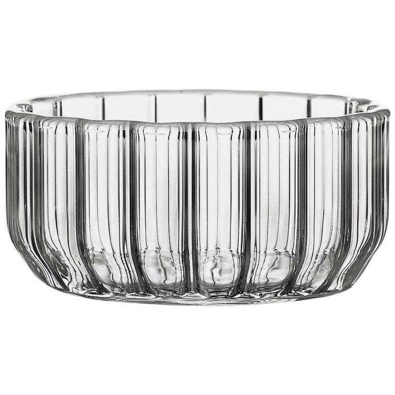 Czech Contemporary Minimal Dearborn Medium Glass Bowl Handmade, in Stock For Sale