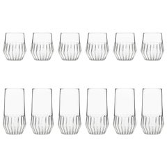 EU Clients Contemporary Mixed Collection 6 Medium and 6 Large Glass Set in Stock