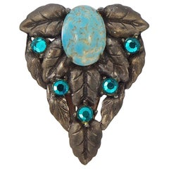 Czech Faux Turquoise and Rose Montee Sea Green Rhinestone Leaf Dress Clip