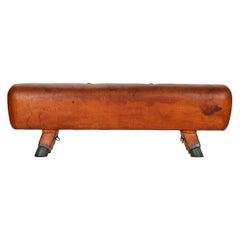 Czech Gymnastics Leather Pommel Horse Bench, 1930s