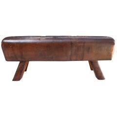 Czech Leather Pommel Horse Bench