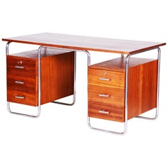 Czech Mahogany Bauhaus Chrome Tubular Writing Desk by Robert Slezak, 1930s