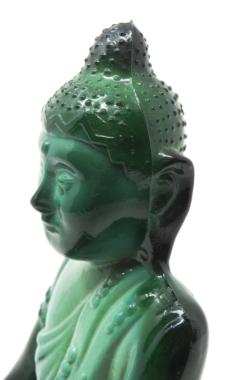 Czech Malachite Glass Buddha Sculpture, Schlevogt Hoffmann For Sale 4