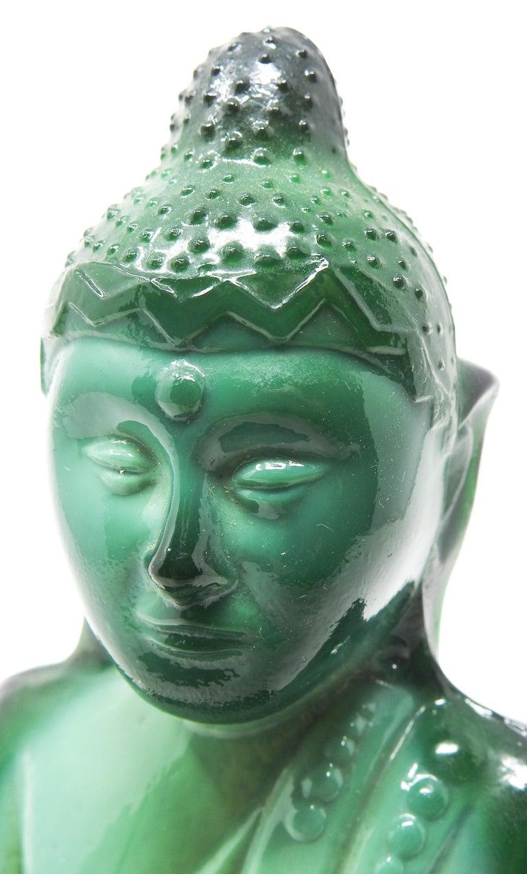 Czech Malachite Glass Buddha Sculpture, Schlevogt Hoffmann For Sale 5