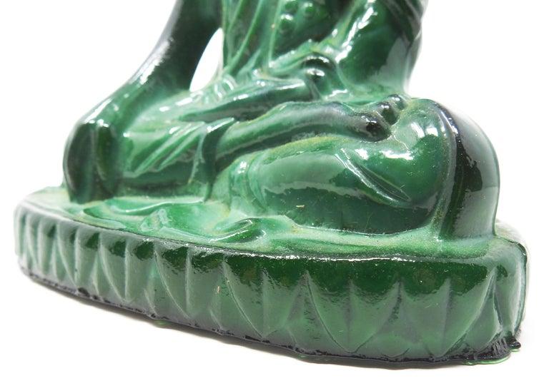 Czech Malachite Glass Buddha Sculpture, Schlevogt Hoffmann For Sale 7