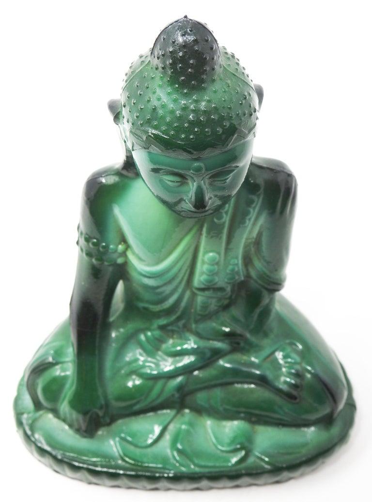 Czech Malachite Glass Buddha Sculpture, Schlevogt Hoffmann For Sale 9