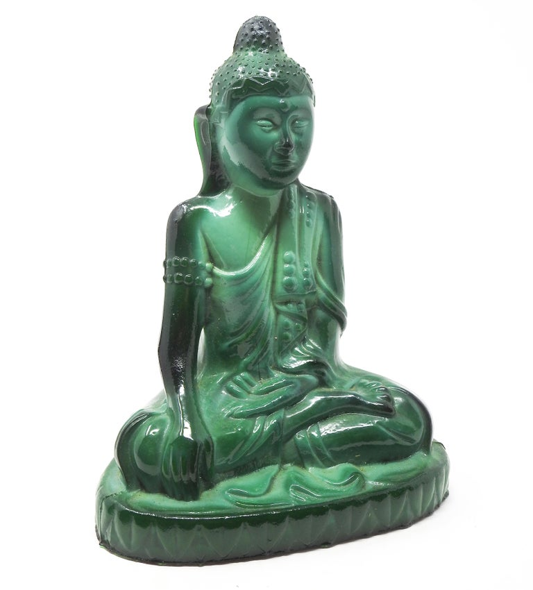 Deco era malachite glass Buddha by Schlevogt from the Ingrid collection. The Buddha is sitting and all the robes and details are gorgeous. Made in Bohemia at the Schlevogt Hoffmann glassworks in the late 1920s-early 1930s.