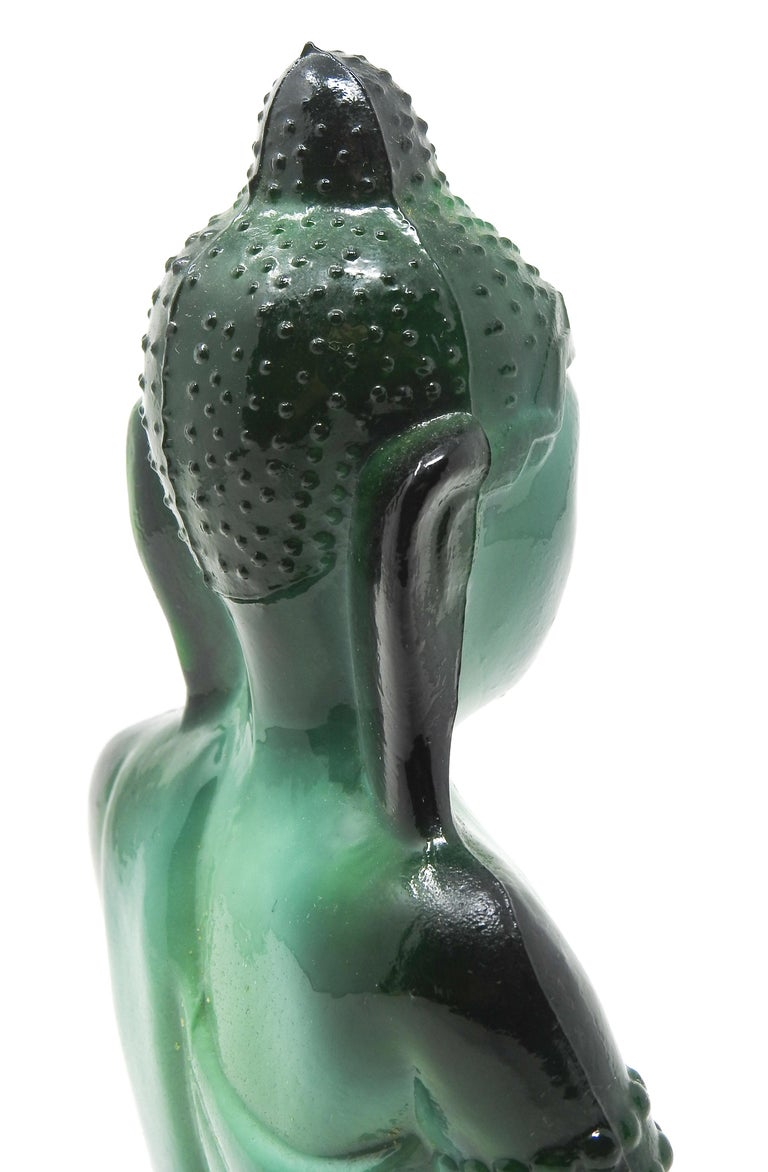 Czech Malachite Glass Buddha Sculpture, Schlevogt Hoffmann In Good Condition For Sale In Cookeville, TN
