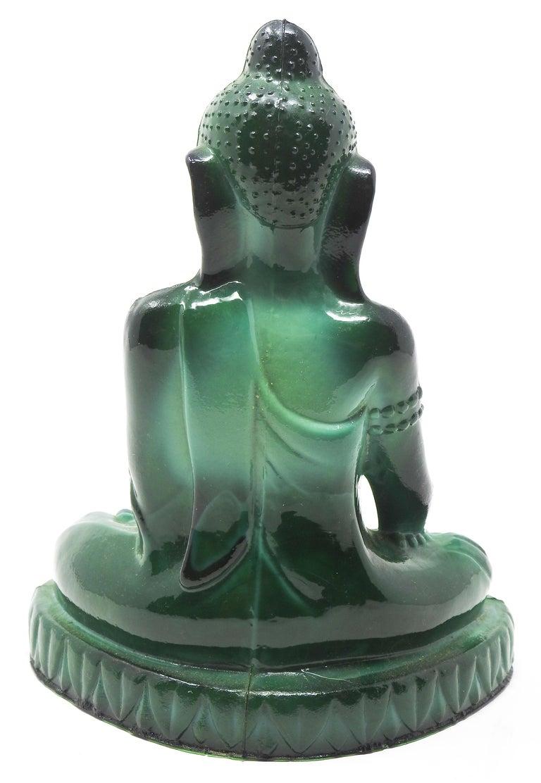 20th Century Czech Malachite Glass Buddha Sculpture, Schlevogt Hoffmann For Sale
