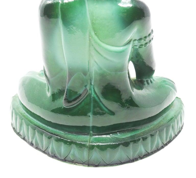 Art Glass Czech Malachite Glass Buddha Sculpture, Schlevogt Hoffmann For Sale