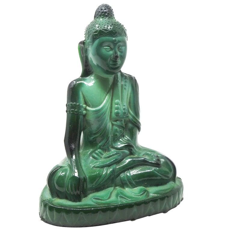 Czech Malachite Glass Buddha Sculpture, Schlevogt Hoffmann For Sale