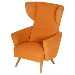 Czech Orange Midcentury Beech Wing Armchair, Original Condition, 1950s
