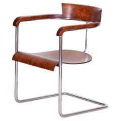 Czech Original Walnut Art Deco Chair Designed by Jindrich Halabala, 1930-1939