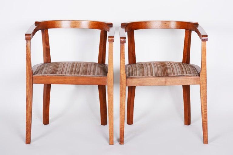 Fabric Czech Pair of Walnut Art Deco Armchairs, Original Good Condition, 1920s For Sale
