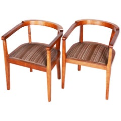Czech Pair of Walnut Art Deco Armchairs, Original Good Condition, 1920s
