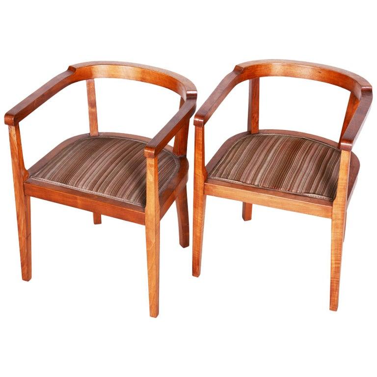 Czech Pair of Walnut Art Deco Armchairs, Original Good Condition, 1920s For Sale
