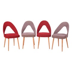 Czech Red and Grey Midcentury Beech Chairs, Set of 4pcs Original Condition 1950s