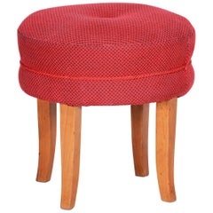 Czech Red Beech Midcentury Stool, Original Well Preserved Condition, 1950s