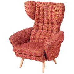 Czech Red Midcentury Beech Wing Armchair, Original Condition, 1950s