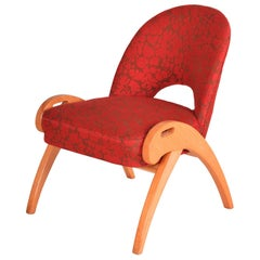 Czech Red Midcentury Upholstered Beech Chair, Perfect Original Conditon, 1950s