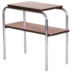 Czech Restored Oak Chromed Steel Bauhaus Side-Table, Hynek Gottwald, 1930s