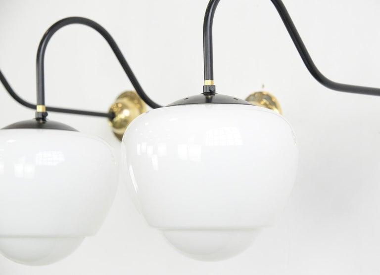 Art Deco Czech Teardrop Opaline Wall Lights, circa 1940s For Sale