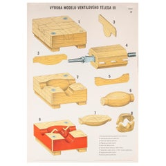 Czech Technical Industrial Drawing, Foundry Mould Engineering Poster, 17