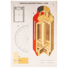 Czech Technical Industrial Drawing, Foundry Mould Engineering Poster, 19