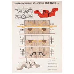Czech Technical Industrial Drawing, Foundry Mould Engineering Poster, 25