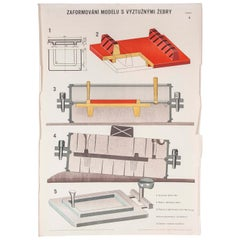 Czech Technical Industrial Drawing, Foundry Mould Engineering Poster, 4