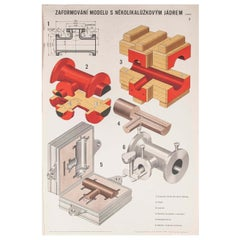 Czech Technical Industrial Drawing, Foundry Mould Engineering Poster, 6