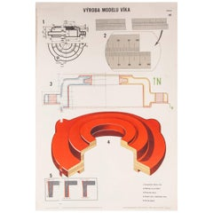 Czech Technical Industrial Drawing, Foundry Mould Engineering Poster, 9
