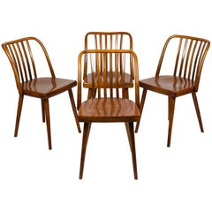 Czech Wooden Chairs by Antonin Suman for TON, 1960s, Set of Four