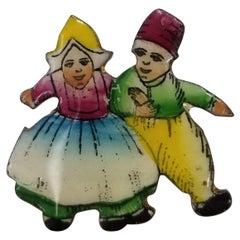 """""""Czecho"""" Man and Woman Dancing in Enamel Brooch"""