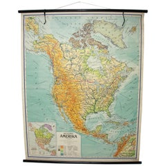 Czechoslovak Vintage School Map of North America, 1959