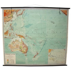 Czechoslovak Vintage School Maps of Australia and Oceania, 1955