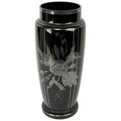 Czechoslovakian Art Glass Silver Deposit Vase in Black Glass