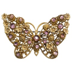 Czechoslovakian Gilt Brass and Purple Crystal Intricate Butterfly Brooch, Pin