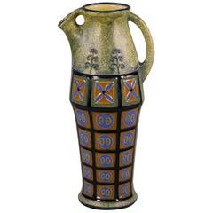 Czechoslovakian Glazed Earthenware Pitcher, Amphora, circa 1925