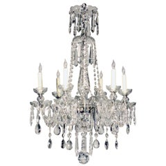 Czechoslovakian Six-Light Crystal Chandelier with  Swags and  Pendant Drops
